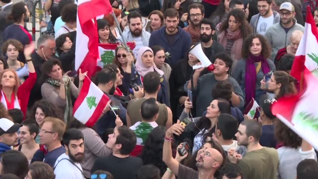 lebanese hold anti government protests in the capital beirut to keep up pressure on the country's rulers widely seen as irretrievably corrupt and... - lebanon country stock videos & royalty-free footage