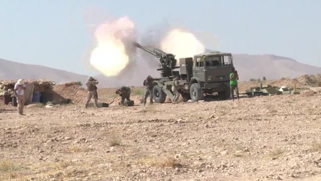 lebanese militant group hezbollah and the syrian army were fighting is jihadists near the border with lebanon on wednesday - hezbollah stock videos & royalty-free footage