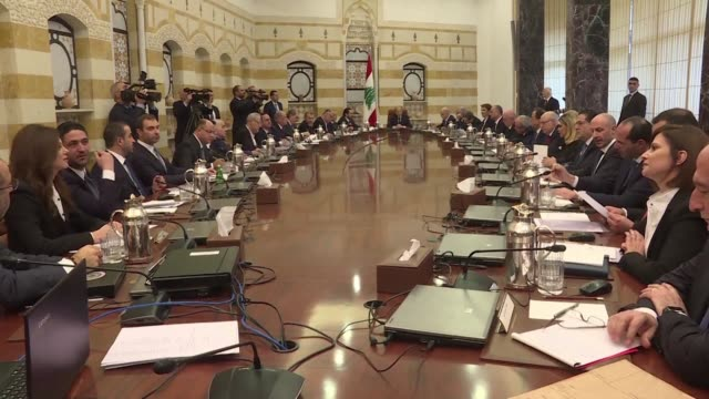 lebanese president michel aoun chairs the first cabinet meeting of the newly formed government at the presidential palace in baabda east of the... - government stock videos & royalty-free footage