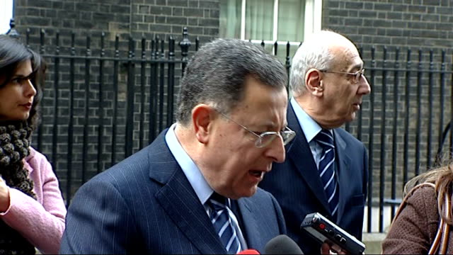 lebanese prime minister fouad siniora meets gordon brown; ext fouad siniora interview sot fouad siniora away with other officials then back to second... - lebanon country stock videos & royalty-free footage