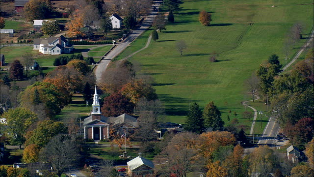 lebanon and village green  - aerial view - connecticut,  new london county,  united states - new london county connecticut stock videos & royalty-free footage