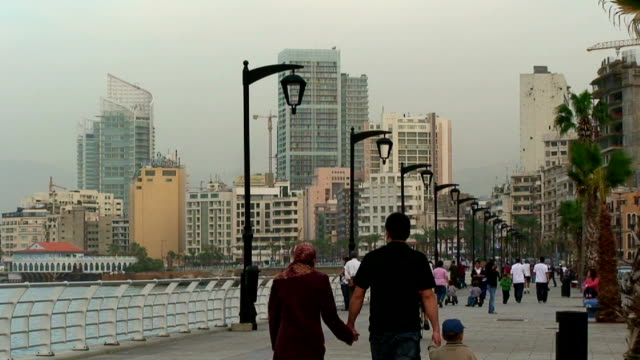 lebanon, beirut (beyrouth), people walking along the corniche - beirut stock videos & royalty-free footage