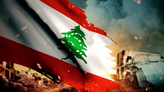 4k lebanon flag - crisis / war / fire (loop) - lebanese ethnicity stock videos and b-roll footage