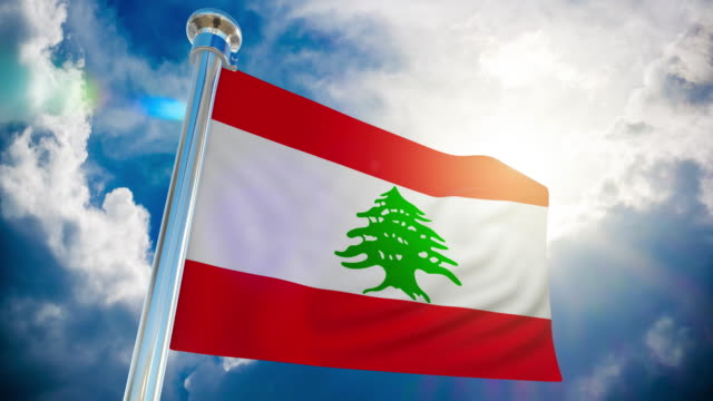 4k - lebanon flag | loopable stock video - lebanon country stock videos & royalty-free footage