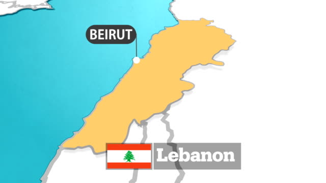 lebanon map with flag - outline stock videos & royalty-free footage