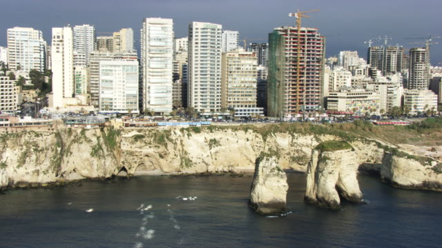lebanon : pigeon rocks from beirut - beirut stock videos & royalty-free footage
