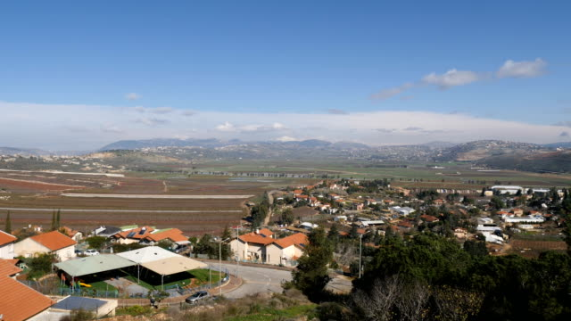lebanon-israel border from israeli side with south lebanon mountains, shiite villages and israeli metula settlement / upper galilee, israel - shi'ite islam stock videos & royalty-free footage