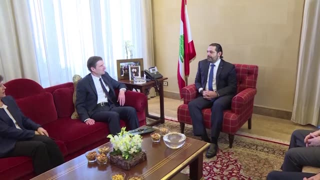 lebanon's appointed prime minister said hariri meets with us secretary of state for political affairs david hale to discuss the country's political... - lebanon country stock videos & royalty-free footage