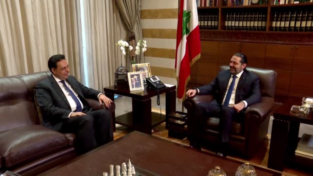 lebanon's prime minister designate hassan diab meets with ex premier saad hariri at his beit el wassat mansion in beirut where he promises... - prime minister stock-videos und b-roll-filmmaterial