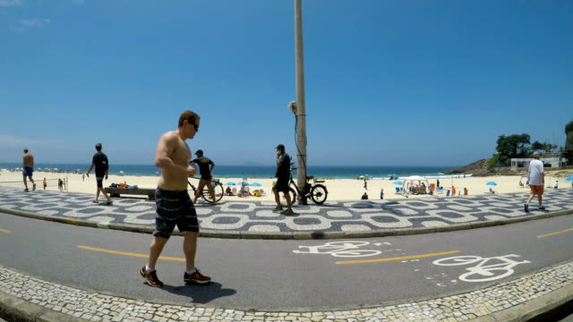 leblon beach - road marking stock videos & royalty-free footage