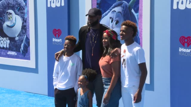 LeBron James and family at the Smallfoot World Premiere at Regency Village Theatre on September 22 2018 in Westwood California