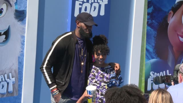 LeBron James and Yara Shahidi at the Smallfoot World Premiere at Regency Village Theatre on September 22 2018 in Westwood California