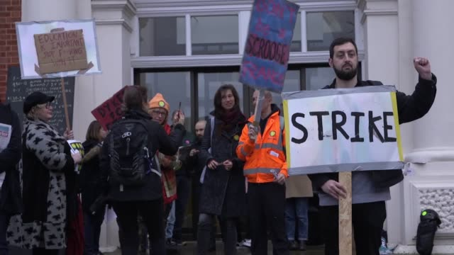 lecturers and students strike at goldsmiths university of london in new cross over pay and pensions includes interviews with lecturer marian carty... - university stock videos & royalty-free footage