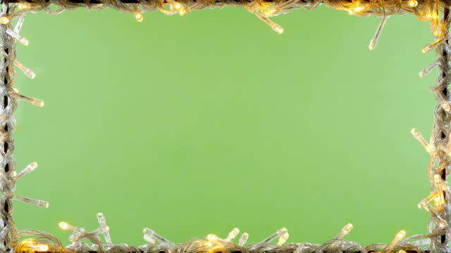 led light frame green screen background 4k - christmas lights stock videos & royalty-free footage