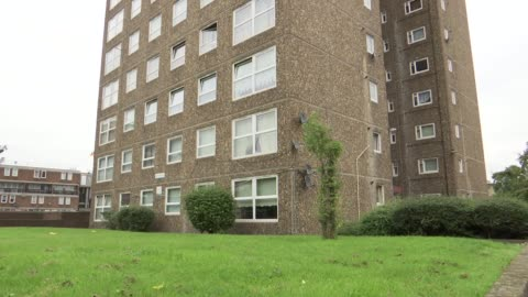 ledbury estate general views; england: london: peckham: ledbury estate: ext various shots tower blocks on ledbury estate / bromyard house - peckham stock videos & royalty-free footage