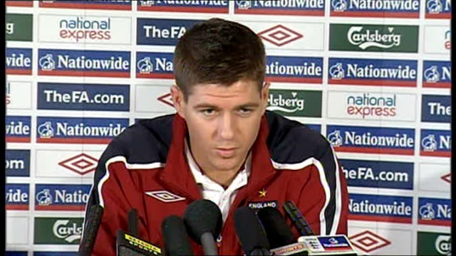 Ledley King Profile Int Steven Gerrard Press Conference Sot Stock Footage Video Getty Images