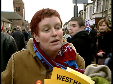 lee bowyer west ham debut/matches elaine heffanan interviewed sot get involved in antiracist measures then he'll be welcome t11010306 - west ham fc stock-videos und b-roll-filmmaterial