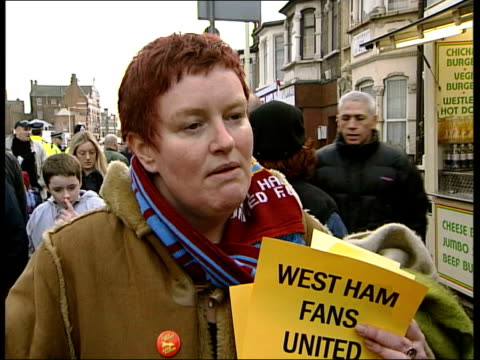 lee bowyer west ham debut/matches itn ms protestor shouting among crowd outside upton park elaine heffanan interviewed sot when he's made statement... - west ham fc stock-videos und b-roll-filmmaterial
