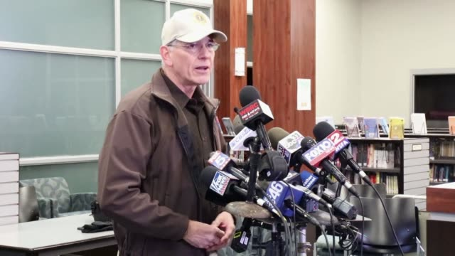 lee county sheriff jay jones updates reporters after two tornadoes killed 23 people in alabama and caused catastrophic damage to buildings and roads... - florida us state stock videos & royalty-free footage