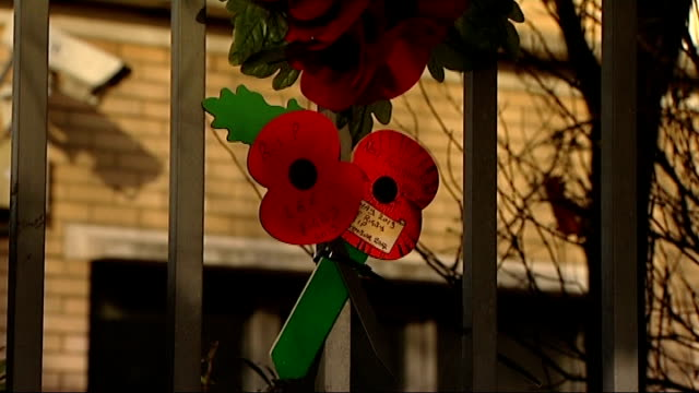 michael adebolajo and michael adebowale found guilty dominique kipre interview remembrance day poppy wreath on fence near scene of lee rigby murder... - lee rigby stock videos & royalty-free footage