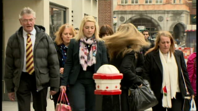 trial hears about the day he was killed england london ext family of drummer lee rigby arriving at the old bailey to attend the trial of michael... - lee rigby stock videos & royalty-free footage