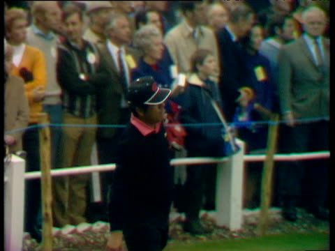 lee trevino drives off from 1st tee world matchplay championship final wentworth 1970 - pga world golf championship stock videos & royalty-free footage