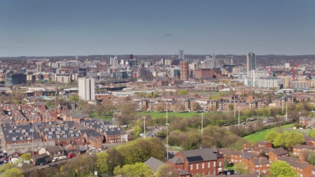 leeds city centre and holbeck - drone shot - leeds stock videos and b-roll footage