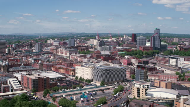 leeds city centre drone footage - leeds stock videos & royalty-free footage