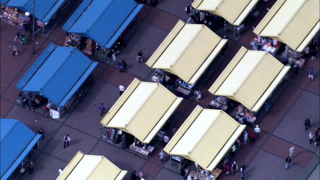leeds city markets  - aerial view - england, leeds, united kingdom - leeds stock videos and b-roll footage