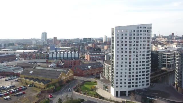 Leeds City Skyline from Docks - Rising Shot