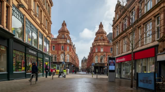 leeds commercial street and shopping malls, yorkshire -4k time-lapse - yorkshire england stock videos & royalty-free footage