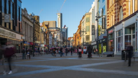 leeds downtown with crowds of shoppers, west yorkshire, 4k time-lapse - shopping stock videos & royalty-free footage