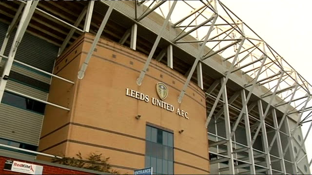 elland road stadium; england: west yorkshire: leeds: elland road: ext general views exteriors of elland road football stadium, sign on wall, logo... - west yorkshire stock videos & royalty-free footage