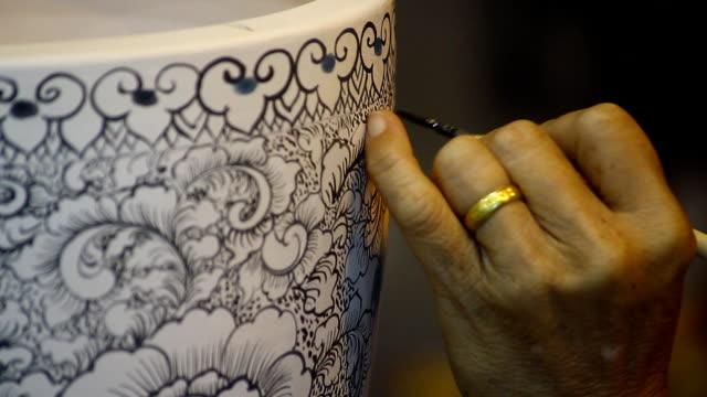 left hand color paint on white ceramic bowl