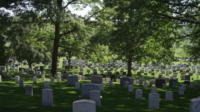 Left pan over headstones in Arlington National Cemetery. Shot in May 2012.