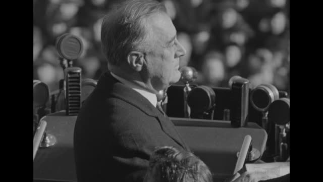 left profile of us supreme court chief justice charles evans hughes; pres. franklin d. roosevelt right profile during roosevelt's third inauguration - supreme court justice stock videos & royalty-free footage
