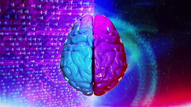 vídeos de stock e filmes b-roll de left right human brain concept - homem e máquina