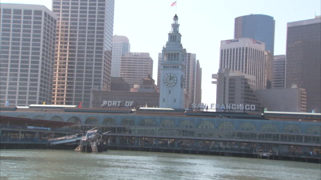 San Francisco Bay The Embarcadero Ferry Building w/ clock tower port sign city buildings skyscrapers BG Urban landmark iconic