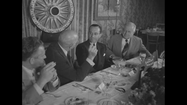 left to right don hartman, production head of paramount, at award luncheon at which the greatest show on earth wins top honors in the american weekly... - producer stock videos & royalty-free footage