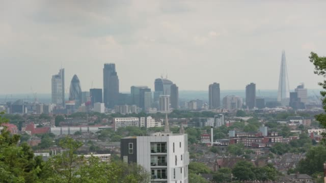london skyline viewed from north london - highgate stock videos & royalty-free footage