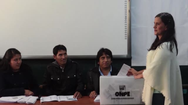 Leftist presidential candidate Veronika Mendoza with the Frente Amplio party voted in the Andean city of Cusco on Sunday in Perus general elections