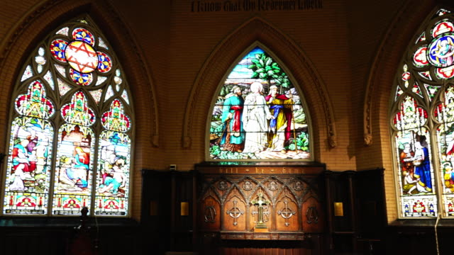 left-pan of the stained glass inside of the anglican church of the redeemer on march 15 in toronto, canada. the building is one of the oldest in the... - anglican stock videos & royalty-free footage