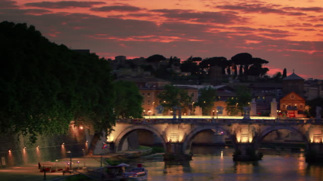 left-to-right pan of ponte sant'angelo and dome of st. peter's basilica - international landmark stock videos & royalty-free footage