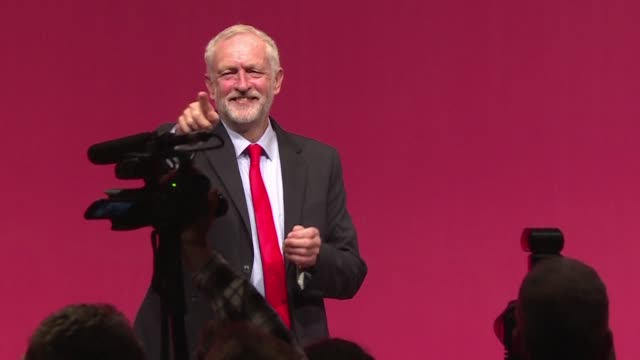leftwinger jeremy corbyn is reelected british labour leader seeing off a challenge from his mps but leaving the opposition party deeply divided with... - jeremy corbyn stock-videos und b-roll-filmmaterial