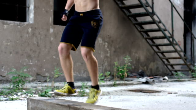 Leg exercise outdoors