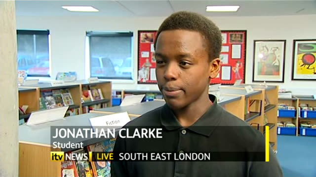 legal challenge against ofqual over english gcse grading begins; england: south east london: int live reporter to camera jonathan clarke live... - マイケル バリー点の映像素材/bロール
