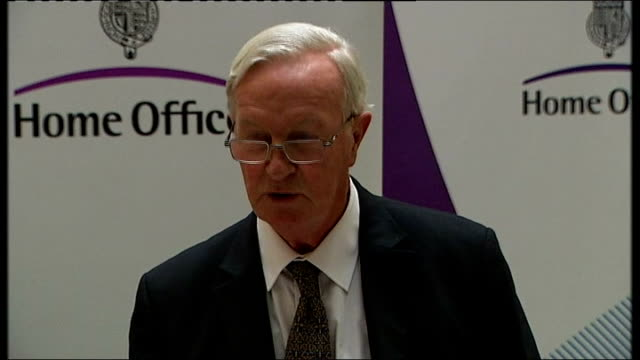 Les Iversen and Alan Johnson statements ENGLAND London Home Office INT Alan Johnson MP introducing Professor Les Iversen press statement on the...