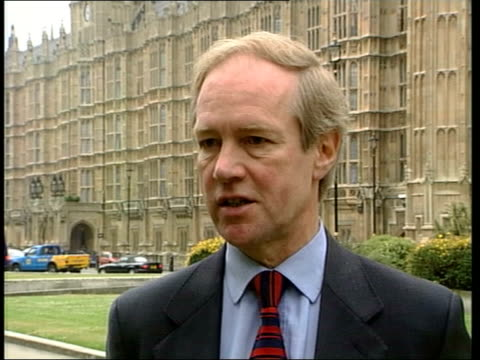 legalisation of cannabis; itn london: westminster: ext peter lilley mp interview sot - the health risks of cannabis are far less than those of... - itv late evening bulletin点の映像素材/bロール