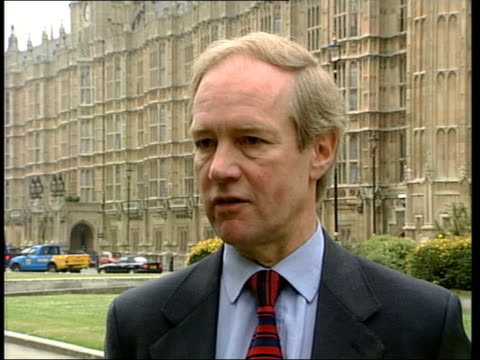 Westminster EXT Peter Lilley MP interview SOT the health risks of cannabis are far less than those of alcohol or nicotine / far from leading people...