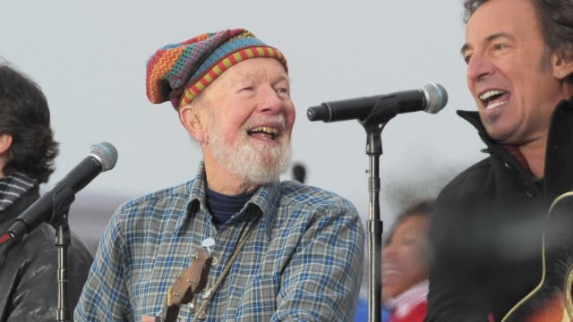 """legendary american folk singer pete seeger, known for renditions of songs like """"if i had a hammer"""" and """"where have all the flowers gone,"""" has died at... - new age stock videos & royalty-free footage"""